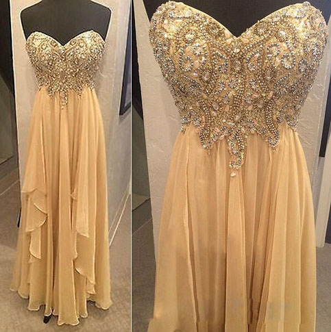 A Line Chiffon Prom Dresses Beaded Sweetheart Evening Gowns