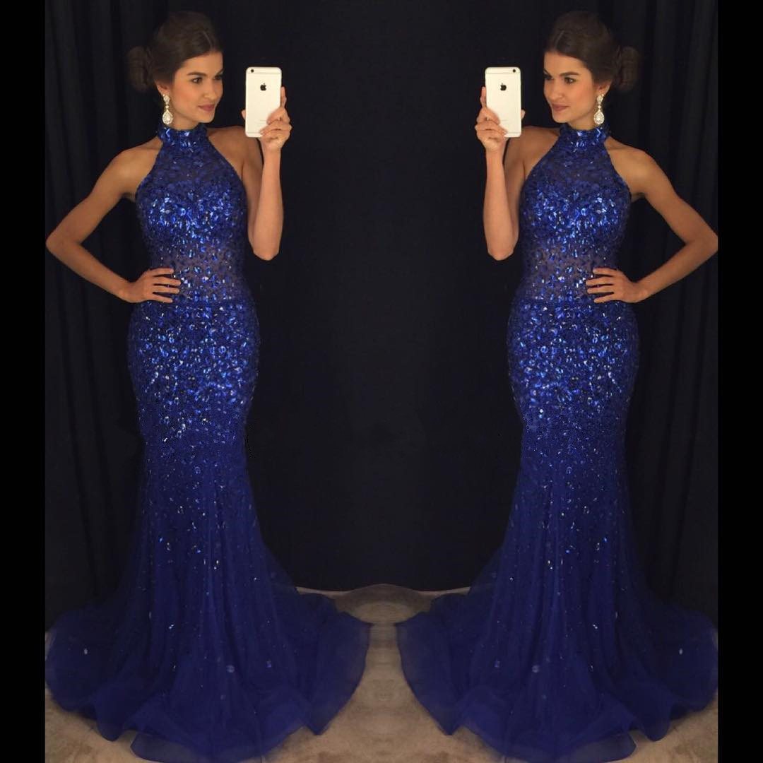 Royal Blue Mermaid Prom Dresses Crystals Halter Long Formal Evening Party  Gowns fd6ae49f04c4