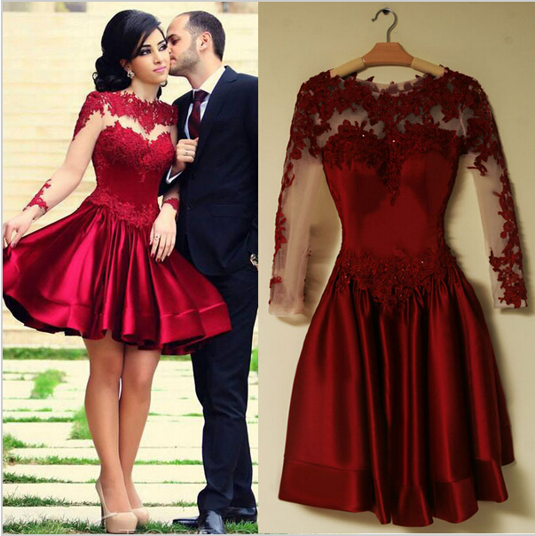 scoop long sleeve tull lace knee length ball gown prom evening dresses