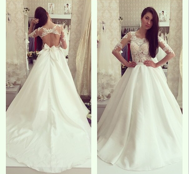 2017 White Wedding Dresseslace Short Sleeve Ball Gown Bridal Gowns