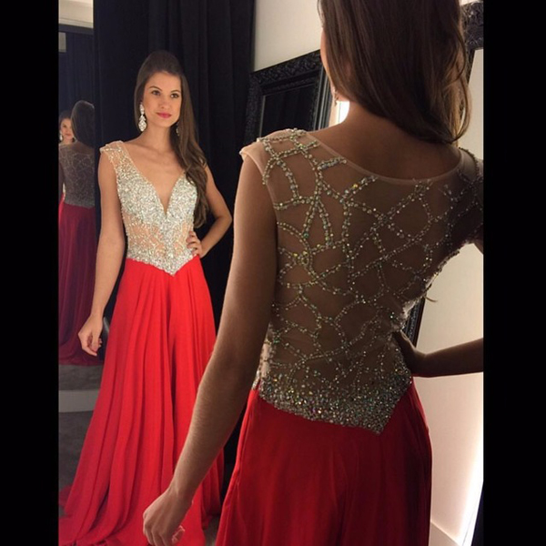 2daebf203b 2017 Deep V Neck Long Chiffon Red Prom Dresses Sleeveless Crystals Sheer  Neck Sequin Evening Dresses A Line Illusion Formal Party Gowns Custo