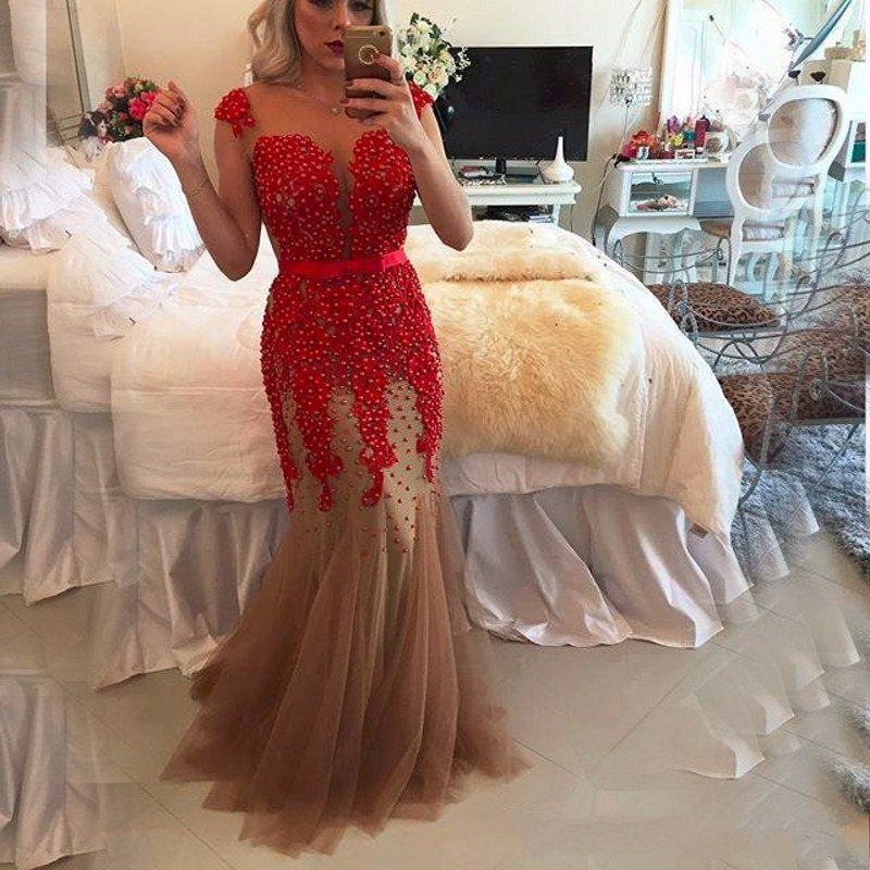 Red Mermaid Prom Dresses Pearls Sash Tulle Formal Evening party Gowns 2017
