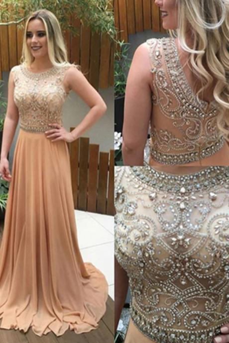A Line Chiffon Prom Dresses Crystals Formal Evening Gowns