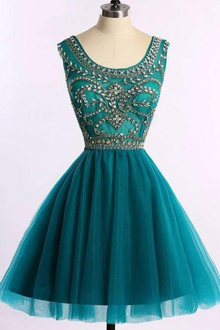 A Line Scoop Cocktail Dresses Crystals Tulle Evening Party Gowns