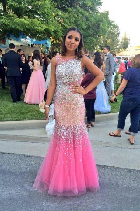 Mermaid Prom Dresses Crystals Long Evening Party Gowns
