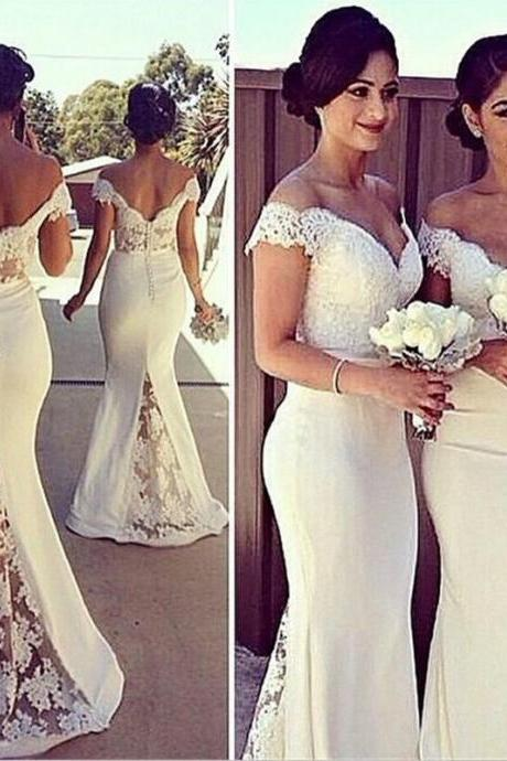 2017 Lace Bridesmaid Dresses Off Shoulder Short Sleeve Mermaid Long Evening prom Gowns Open Back Floor Length Women Formal Gowns Custom