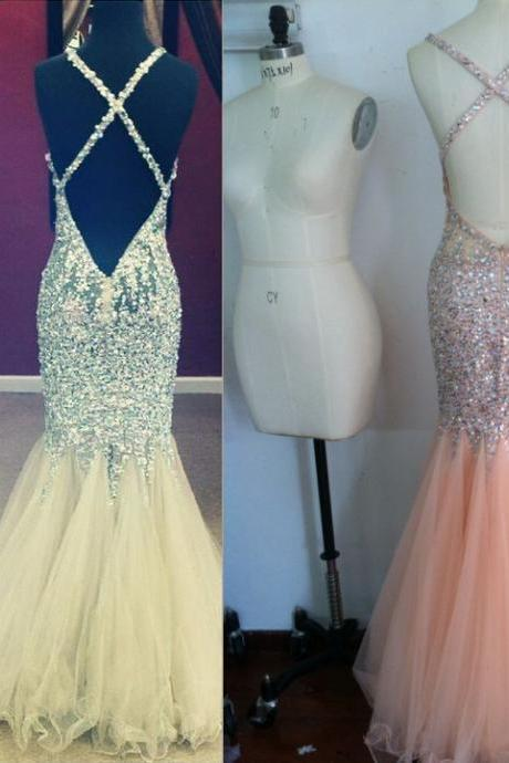 2017 Luxury Evening Dresses Sweetheart Tulle Long Prom Party Gowns Crystals Criss-cross Mermaid Open Back Women Gowns Spaghetti Straps Formal Gowns