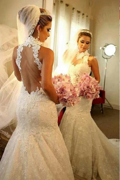 2017 Mermaid Wedding Dresses High Neck Sleeveless Bridal Gowns Hollow Appliques Sheer Neck Wedding Gowns Sweep Train Bridal Gowns Custom