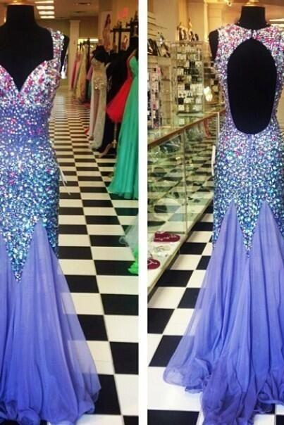 2017 Hot Sale Mermaid Tulle Sweetheart Crystals Sleeveless Evening Dresses Open Back Sequin Floor Length Prom Gowns Party Gowns Custom