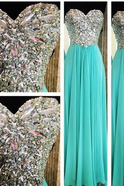 2017 Hot Sale A-line Chiffon Long Evening Dresses Sweetheart Crystals Sleeveless Floor Length Zipper Prom Gowns Party Gowns Custom