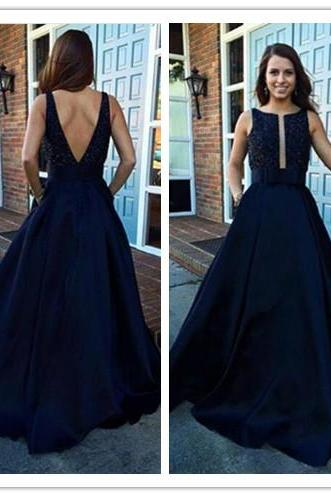 2017 Evening Dresses,Navy Blue Long Evening Gowns,Jewel Sleeveless Prom Dresses,Ball Gown Prom Gowns,V-back Evening Dresses.Beaded Evening Dresses,D&D003