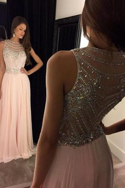 A-line Prom Dresses 2016 O-Neck Sleeveless Cover Backl Floor length Chiffon with Crystal Women Dresses Sexy Formal Dress 2016