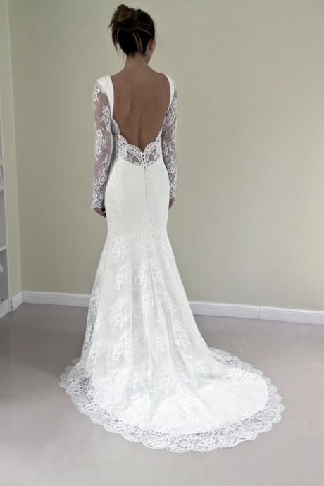 2017 White Lace Wedding Dresses,Long Sleeve Wedding Dresses,Sexy Back Mermaid Crewneck Wedding Gowns,Custom Made Bridal Dresses