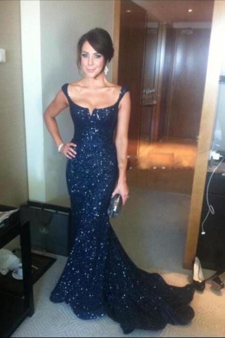 2017 New Arrive Navy Blue Scoop Long Mermaid Prom Dresses,Sleeveless Sweep Train Bow Evening Gowns,Celebrity Pageant Dresses Special Occasion Gowns