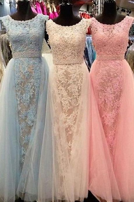 2017 Hot Sale Tulle Long Prom Dresses,Scoop Applique Beaded Beaded Sleeveless Long Evening DressesCelebrity Pageant Dresses