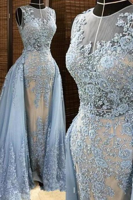 2017 Gary Applique Tulle Long Prom Dresses Jewel Sleeveless Beaded Overskirts Zipper Floor Length Evening Gowns Celebrity Pageant Dresses