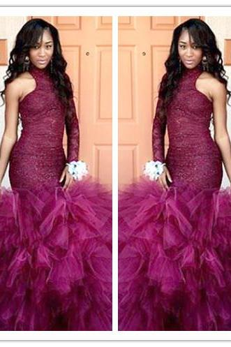 High Neck Mrermaid Prom Dress Sleeveless Long Evening Party Gowns
