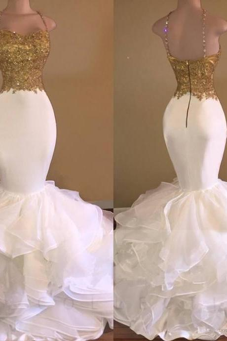 Gold Mermaid Prom Dresses Halter Long Evening Party Formal Gowns Custom