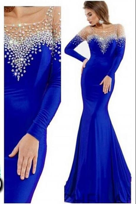 2017 Royal Blue Mermaid Prom Dresses Long Sleeve Beaded Scoop Formal Evening Party Gowns