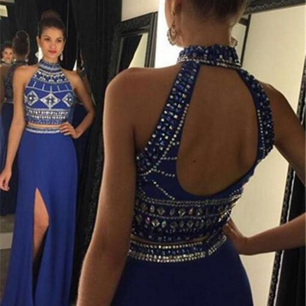 Two Pieces Prom Dresses,2016 Prom Dress,Long Prom Dresses,Crystal Party Dresses,Prom Dresses 2016,Chiffon Prom Dress,Beaded Formal Dresses,Sexy Prom Dress