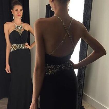 Two Piece Prom Dress,2017 New Arrive Sleeveless A-line Black Halfer Crystals Evening Dresses Floor Length Open Back Party Gowns Custom