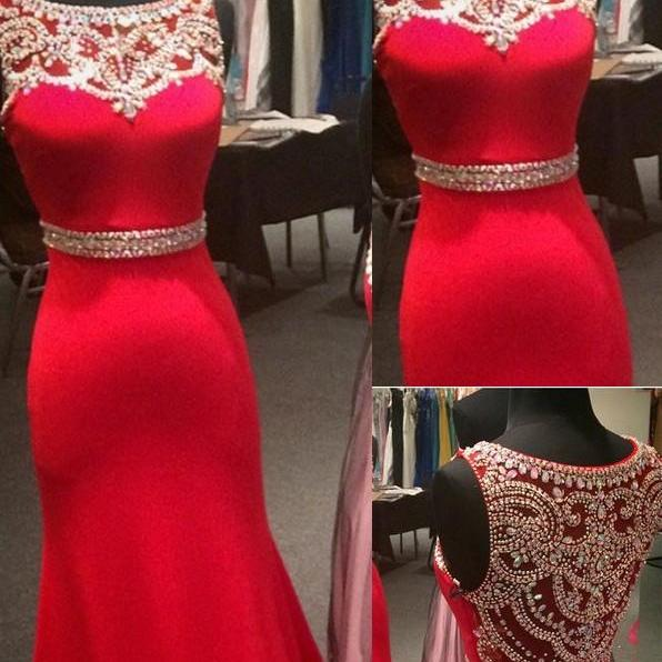 Custom Made Prom Dresses,2017 Red Mermaid Beaded Sleeveless Jewel Chiffon Evening Dresses Sash Crystals Illusion Hollow Floor Length Party Gowns Custom