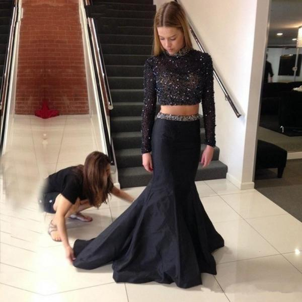 Two Piece Prom Dresses,2016 Prom Dress,Long Prom Dresses,Beading Party Dresses,Prom Dresses 2016,Chiffon Prom Dress,Beaded Formal Dresses,2 Piece Prom Dresses