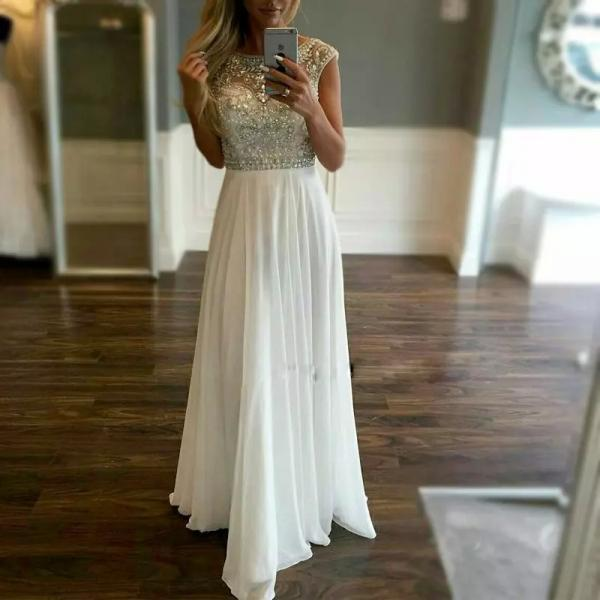 2017 White Chiffon Prom Dresses Crystals A Line Crystals Formal Evening Party Gowns